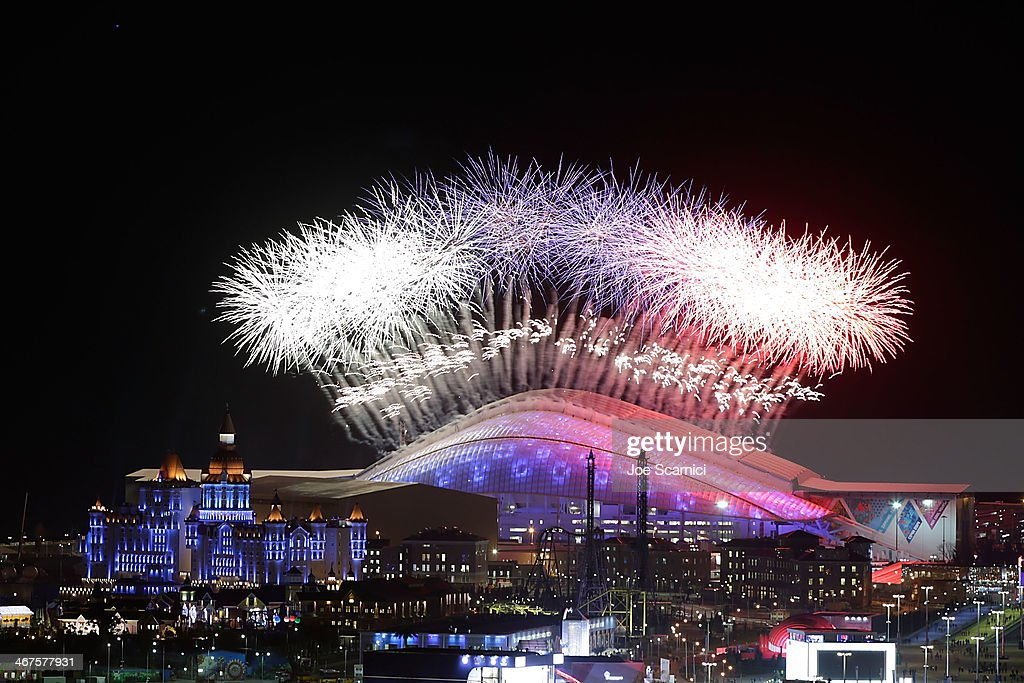A general view of fireworks over Fisht Olympic Stadium during the Opening Ceremony of the Sochi 2014 Winter Olympics on February 7, 2014 in Sochi, Russia.