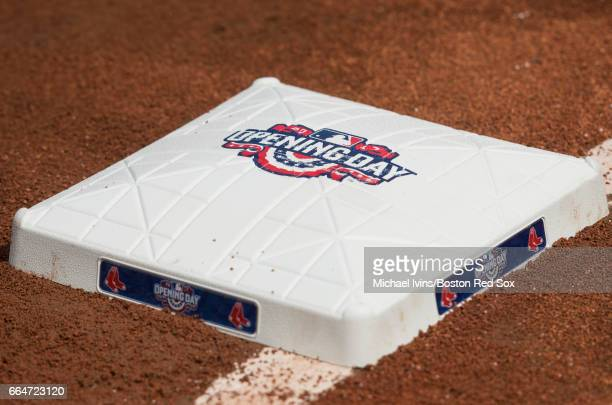 General view of first base with logos before an opening day game between the Boston Red Sox and the Pittsburgh Pirates at Fenway Park on April 3 2017...