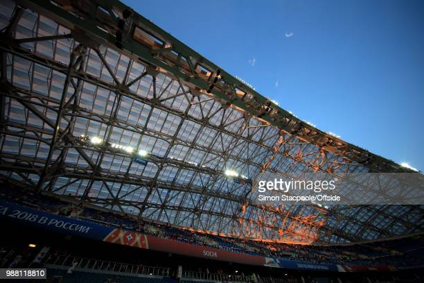 A general view of Fisht Stadium as sunlight falls on the roof during the 2018 FIFA World Cup Russia Round of 16 match between Uruguay and Portugal at...