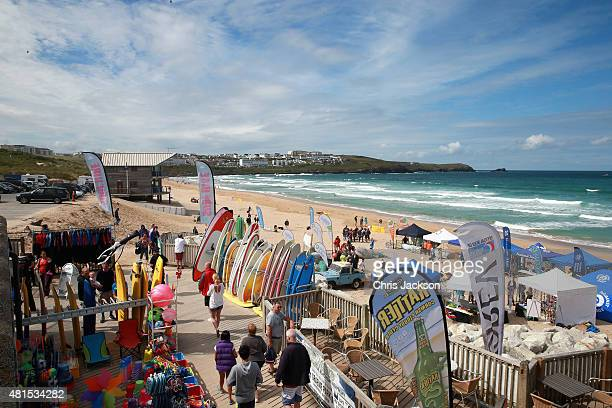 A general view of Fistral Beach during the visit of Prince Charles Prince of Wales on July 22 2015 in Newquay United Kingdom