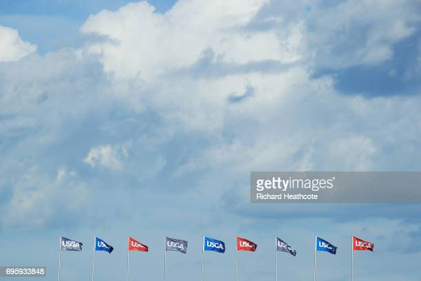A general view of flags during a practice round prior to the 2017 US Open at Erin Hills on June 14 2017 in Hartford Wisconsin
