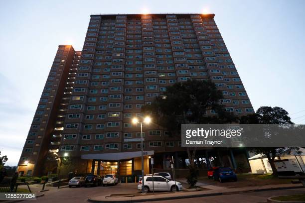 General view of Flemington tower on July 10, 2020 in Melbourne, Australia. It is the first day that residents can leave the building after the total...