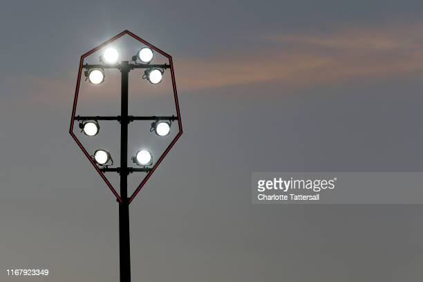 General View of Flood lights at Moor Lane home of Salford City during the Carabao Cup First Round match between Salford City and Leeds United at Moor...