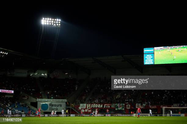 General view of floodlights during the Allsvenskan match between Helsingborgs IF and Ostersunds FK at Olympia on August 30 2019 in Helsingborg Sweden
