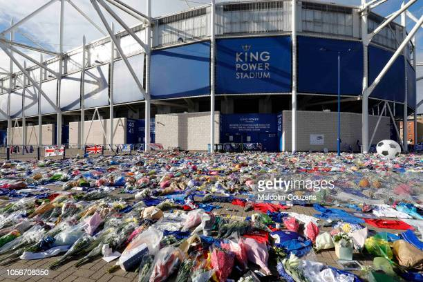 A general view of floral tributes to Leicester City chairman Vichai Srivaddhanaprabhaat at the King Power Stadium in Leicester on November 3 2018 in...