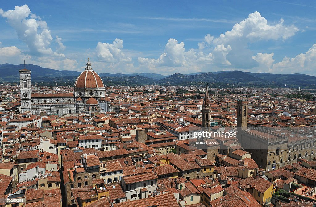 A general view of Florence from Palazzo Vecchio on June 8, 2013 in Florence, Italy. The latest book by the American writer Dan Brown is set largely in Florence historic centre and the plot is based on Dante's Divina Commedia ('Divine Comedy') and its Inferno. In the novel there are many references to his city and to his work.