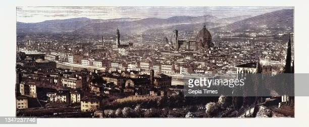 General View of Florence from the Heights of San Miniato, the Queen at Florence, Italy, 1888 Engraving.