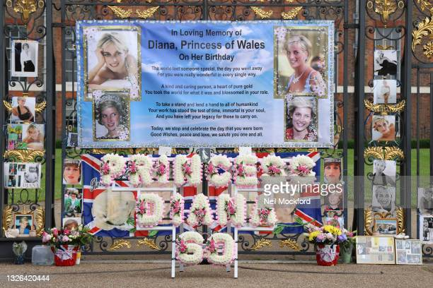 General view of flowers and tributes to Princess Diana left outside the 'Golden Gates' at Kensington Palace on July 01, 2021 in London, England....