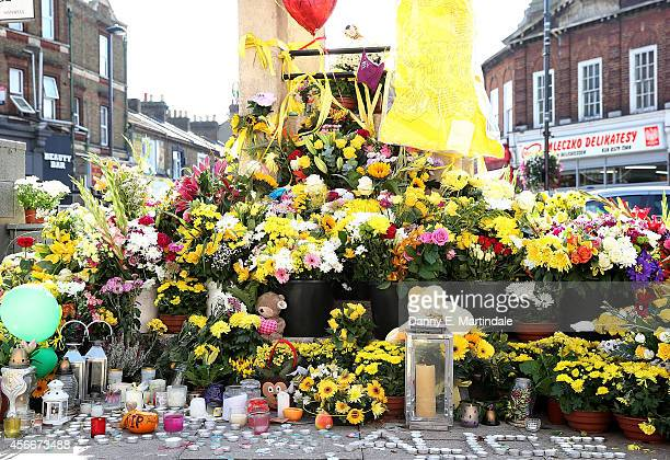 A general view of flowers left at the Hanwell clock tower in memory of Alice Gross on October 5 2014 in London England A body believed to be that of...