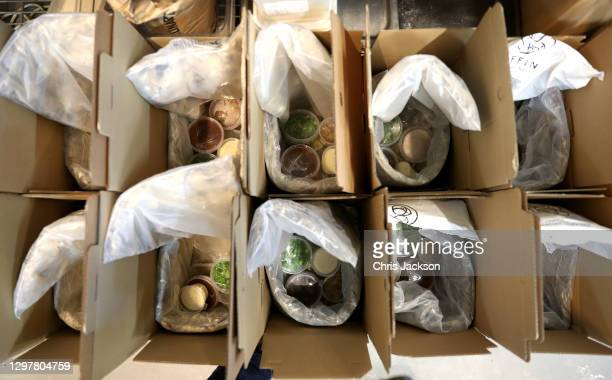 General view of food as Scottish restaurant & butcher Mac & Wild prepare home delivery kits ahead of Burns Night at Bovingdons Catering Ltd on...