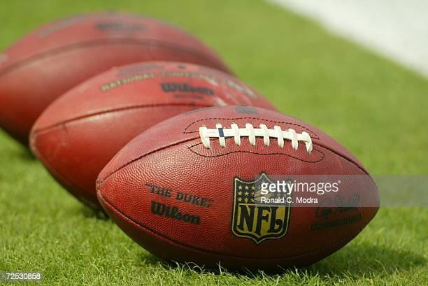 A general view of footballs before the game between the Kansas City Chiefs and the Miami Dolphins at Dolphin Stadium on November 12 2006 in Miami...