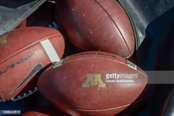 General view of footballs before the game between the Nebraska Cornhuskers and the Minnesota Golden Gophers at Memorial Stadium on October 20 2018 in...