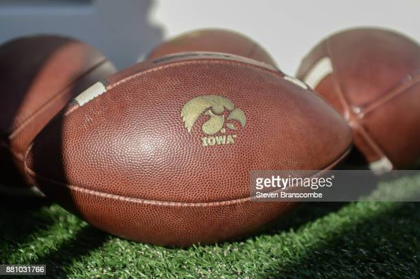 General view of footballs used by the Iowa Hawkeyes before the game against the Nebraska Cornhuskers at Memorial Stadium on November 24 2017 in...