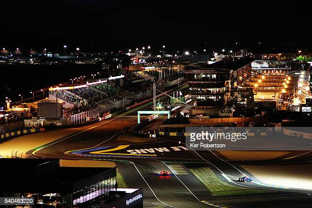 A general view of Ford Chicane and main grandstand straight during practice for the Le Mans 24 Hour race at the Circuit de la Sarthe on June 15 2016...
