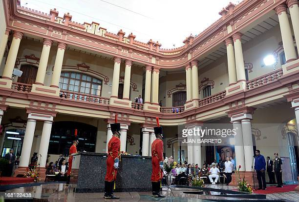 General view of former Venezuelan President Hugo Chavez's tomb before the opening of the Petrocaribe Summit in Caracas on May 5 2013 Pertocaribe is...