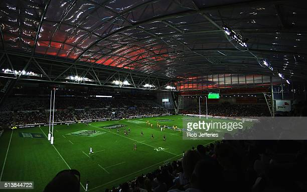 A general view of Forsyth Barr Stadium Dunedin during the round two Super Rugby match between the Highlanders and the Hurricanes at Forsyth Barr...