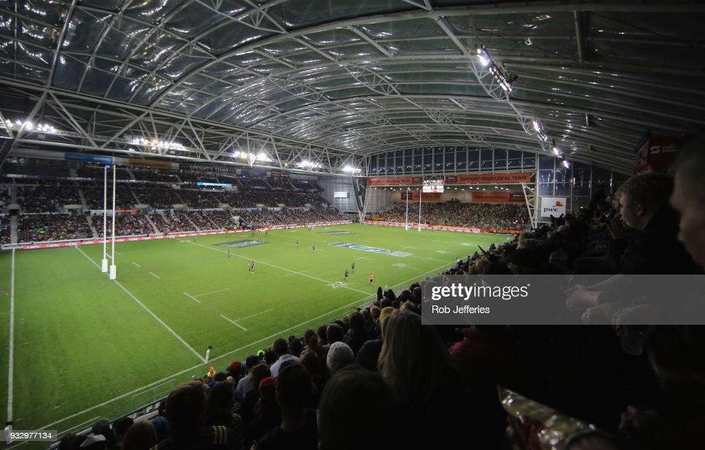 A general view of Forsyth Barr Stadium during the round five Super Rugby match between the Highlanders and the Crusaders at Forsyth Barr Stadium on March 17, 2018 in Dunedin, New Zealand.