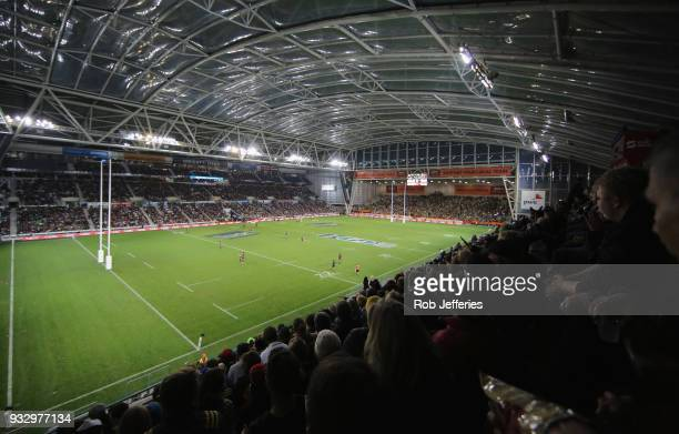 A general view of Forsyth Barr Stadium during the round five Super Rugby match between the Highlanders and the Crusaders at Forsyth Barr Stadium on...
