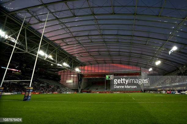 A general view of Forsyth Barr Stadium during the round six Mitre 10 Cup match between Otago and Canterbury at Forsyth Barr Stadium on September 22...