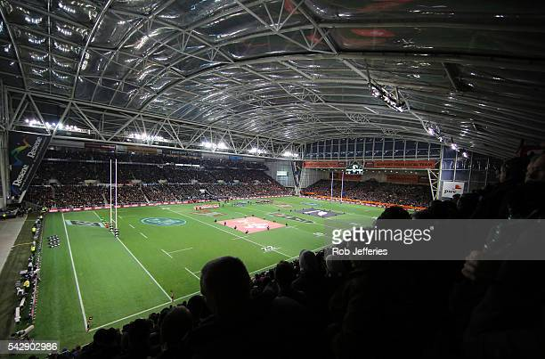 A general view of Forsyth Barr Stadium prior to the International Test match between the New Zealand All Blacks and Wales at Forsyth Barr Stadium on...