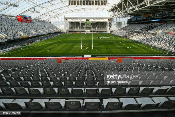 General view of Forsyth Barr Stadium prior to the round 10 Super Rugby Aotearoa match between the Highlanders and the Hurricanes at Forsyth Barr...