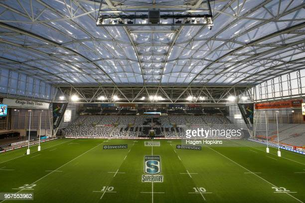 A general view of Forsyth Barr Stadium prior to the round 12 Super Rugby match between the Highlanders and the Lions at Forsyth Barr Stadium on May...