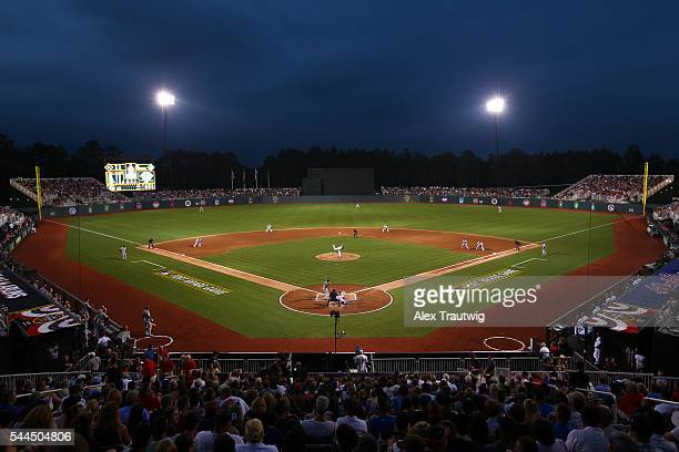 A general view of Fort Bragg Stadium during the game between the Miami Marlins and the Atlanta Braves on Sunday July 3 2016 in Fort Bragg North...