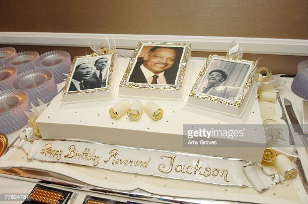A general view of Founder and President of the Rainbow PUSH Coalition Reverend Jesse Jackson Sr's birthday cake at the VIP Cocktail Reception hosted...
