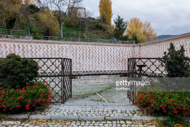 A general view of Fountain of 99 Spouts in L'Aquila Italy on November 18 2017
