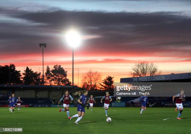 General view of Fran Kirby of Chelsea in action as the sun sets during the FA Women's Continental League Cup Semi Final match between Chelsea and...