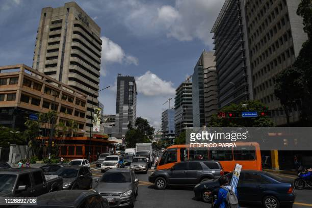 General view of Francisco de Miranda avenue with traffic after the government eased a nationwide lockdown imposed as a preventive measure against the...