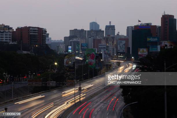 General view of Francisco Fajardo highway partially illuminated during a power outage in Caracas Venezuela on March 26 2019 Venezuela decreed a...
