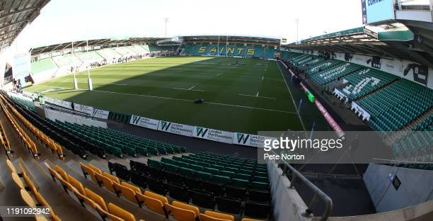 General view of Franklins Gardens during the Gallagher Premiership Rugby match between Northampton Saints and Leicester Tigers on November 30, 2019...
