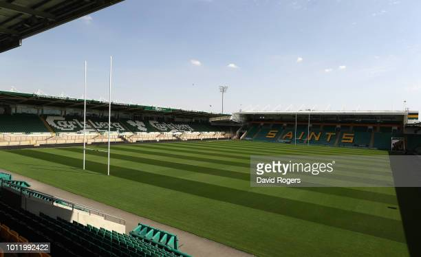 General view of Franklin's Gardens during the Northammpton Saints training sessiond held at Franklin's Gardens on August 6, 2018 in Northampton,...
