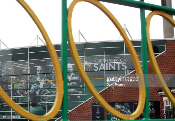 General view of Franklin's Gardens, the home of Northampton Saints on March 17, 2020 in Northampton, England. The Rugby Football Union has suspended...
