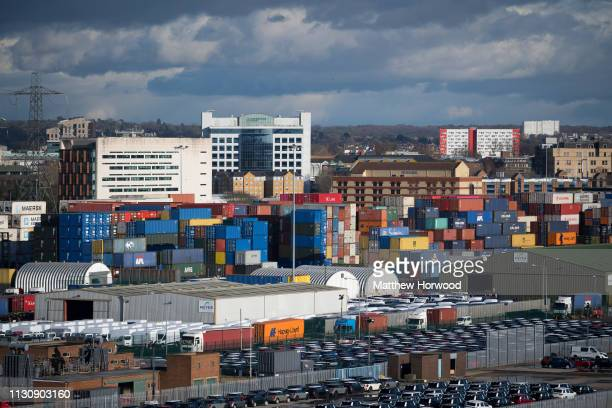 A general view of freight and shipping containers on February 10 2019 in Southampton England The Port of Southampton is a passenger and cargo port in...