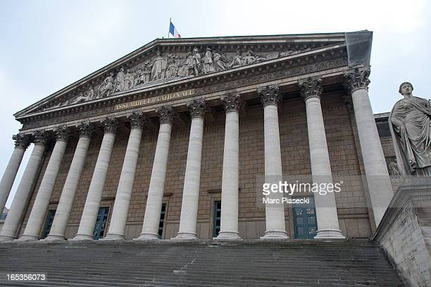 A general view of French Parliament as beehives are installed on the roof of the Palais Bourbon on April 3 2013 in Paris France