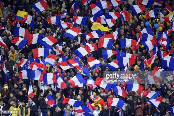 A general view of French supporters waving flags during the international friendly match between France and Colombia at Stade de France on March 23...