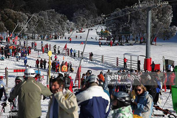 General view of Friday Flat on July 7, 2009 in Thredbo, Australia. Friday Flat is the beginners area where many children start and spend the...
