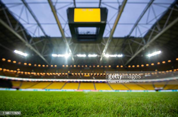 General view of Friends Arena ahead of the UEFA Euro 2020 qualifier match between Sweden and Norway at Friends Arena on September 8, 2019 in Solna,...