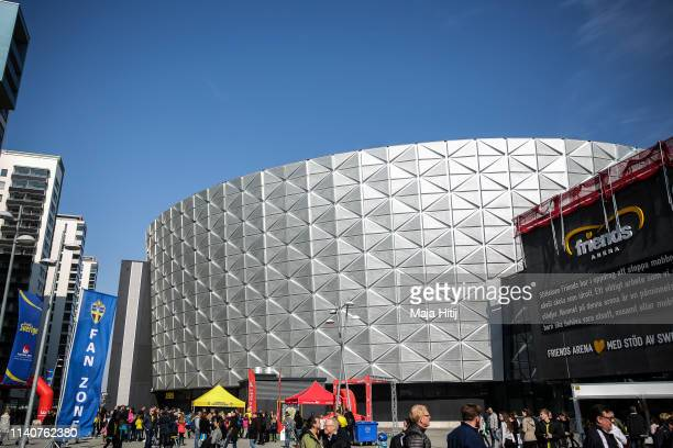 General view of Friends arena prior to the Sweden v Germany Women's International Friendly match at Friends arena on April 06 2019 in Solna Sweden