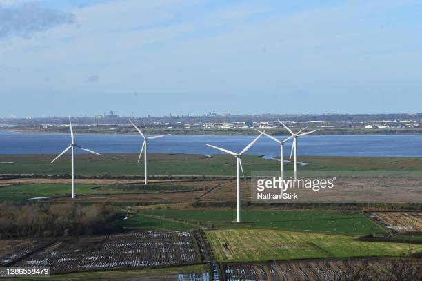 General view of Frodsham Wind Farm from Helsby Hill on November 19, 2020 in Helsby, England. The UK Government released details of its ten point plan...