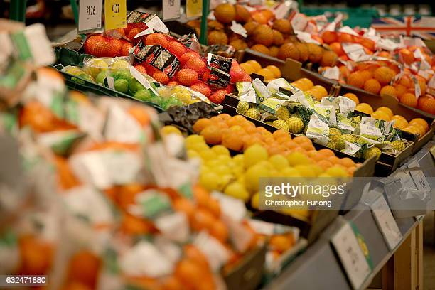 A general view of fruit and vegetable products inside Rochdale's Morrisons supermarket on January 23 2017 in Rochdale England Wm Morrison...