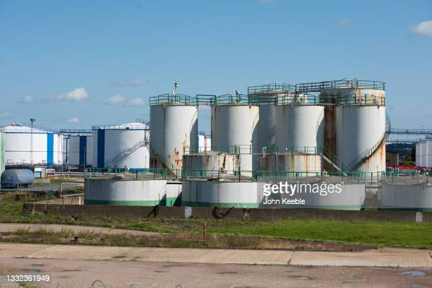 General view of fuel storage tanks belonging to Oikos Storage Limited, a marine fed oil, fuel and bulk liquid import and storage facility on the...
