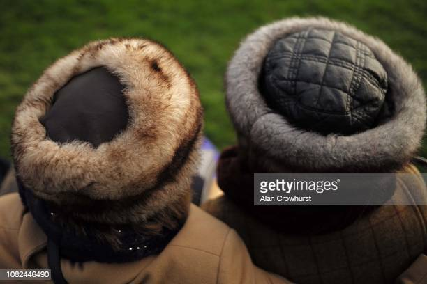 A general view of fur hats on show at Cheltenham Racecourse on December 14 2018 in Cheltenham England