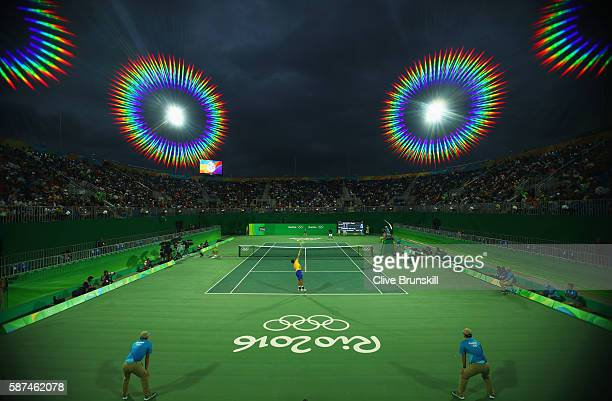 A general view of Gael Monfils of France and Rogerio Dutra Silva of Brazil in action during the Men's Singles second round match against on Day 3 of...