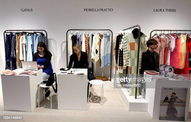 General view of Gaeus, Fiorella Pratto and Laura Theiss at the Designer Showrooms during London Fashion Week September 2018 on September 15, 2018 in...