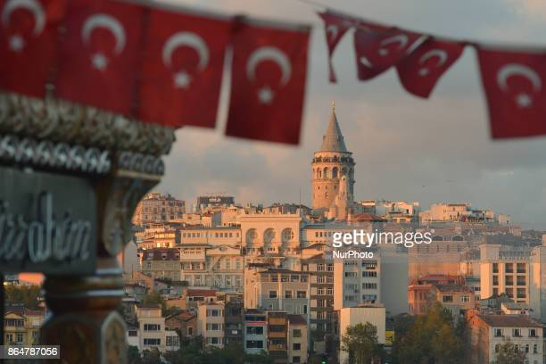 A general view of Galata Tower and Beyoglu district with Turkish flag in the first plan On Tuesday 17 October 2017 in Istanbul Turkey