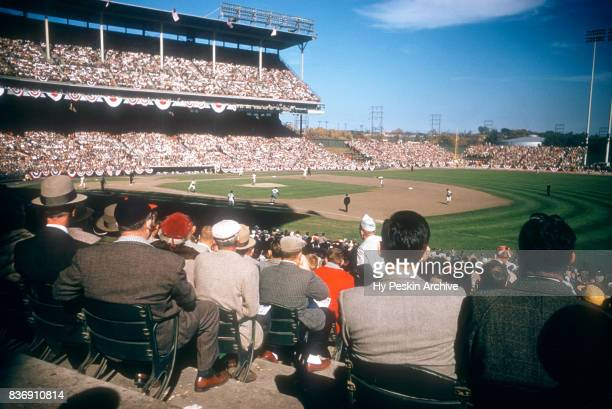 General view of Game 5 of the 1957 World Series between the New York Yankees and Milwaukee Braves on October 7 1957 at Milwaukee County Stadium in...