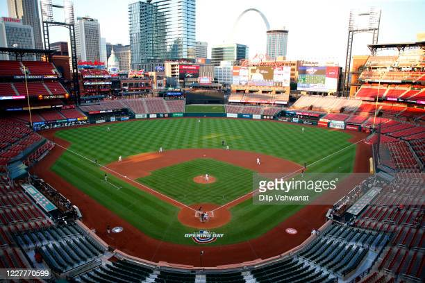 General view of game action during the Opening Day game between the Pittsburgh Pirates and the St. Louis Cardinals at Busch Stadium on Friday, July...